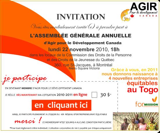 Modele Invitation Assemblee Generale Document Online