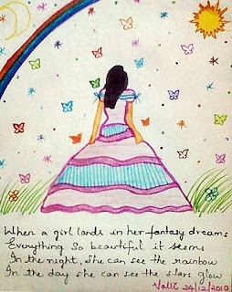 girl walking into fantasy world
