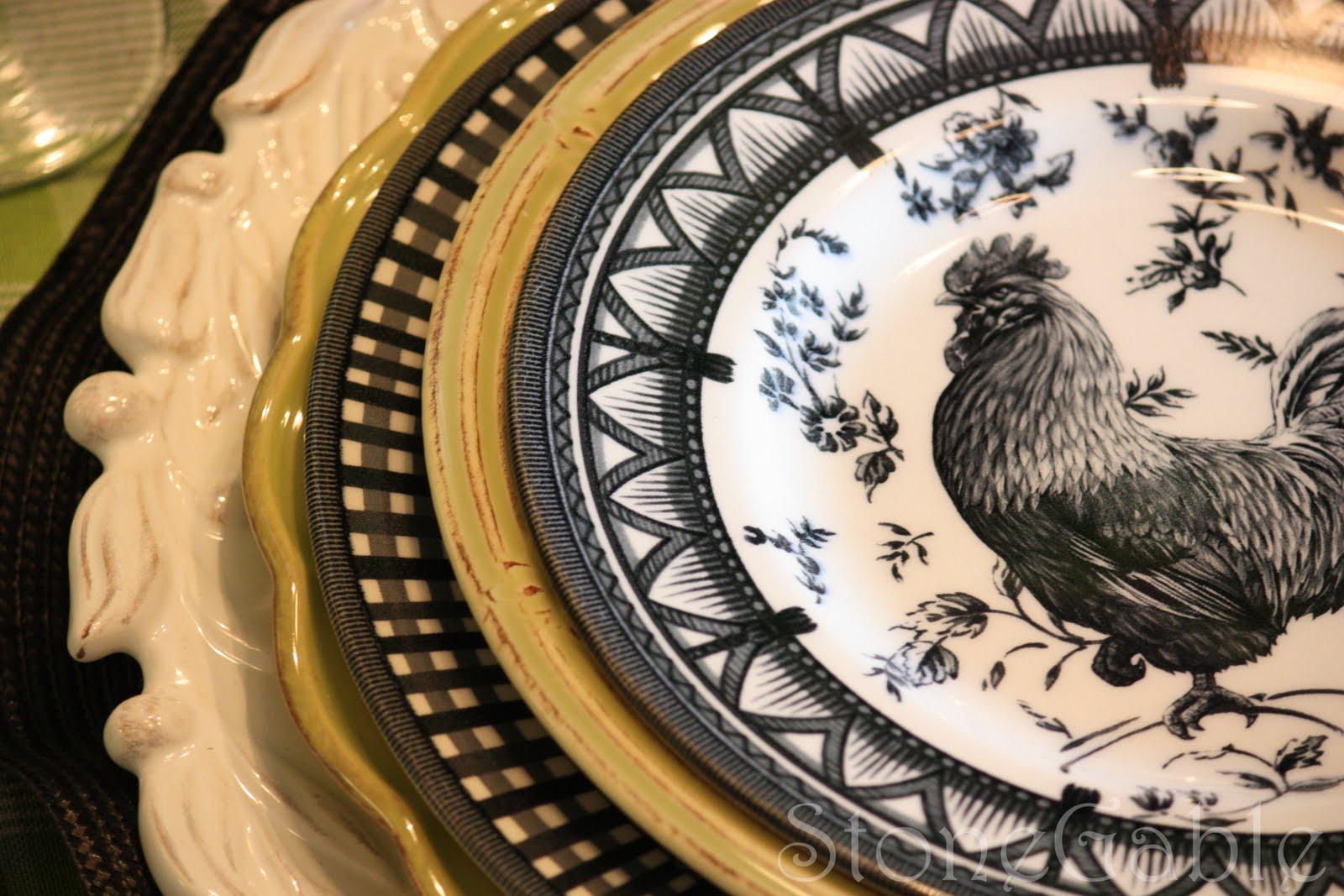 & A Little French Rooster Tablescape - StoneGable