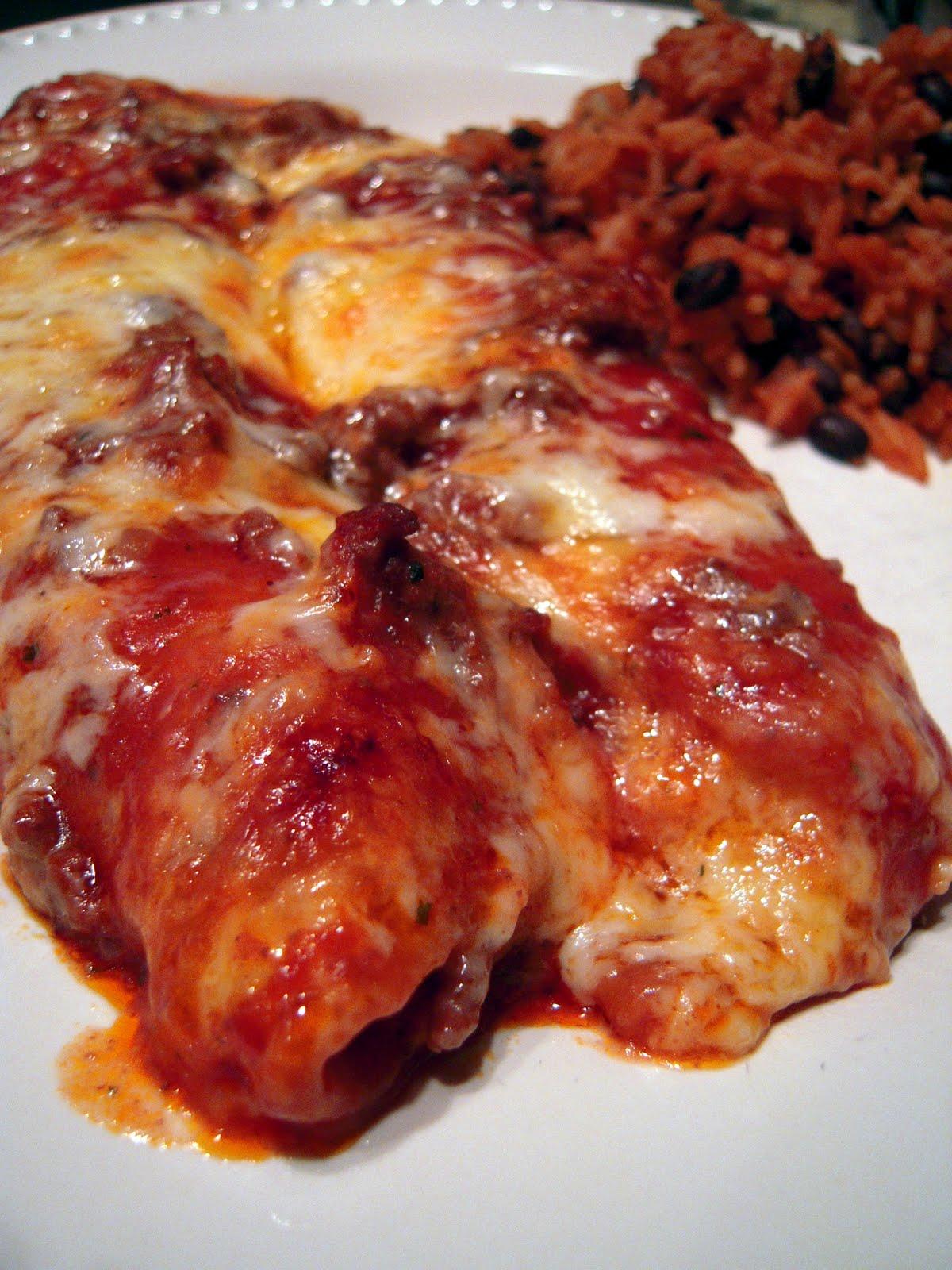 Weeknight Beef Enchiladas - beef, tomato soup, enchilada sauce ...