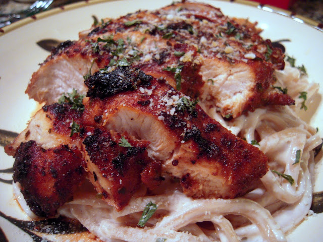 Blackened Chicken Alfredo - pan seared blackened chicken served over garlic alfredo sauce and pasta - homemade blackened seasoning - I wanted to lick my plate!