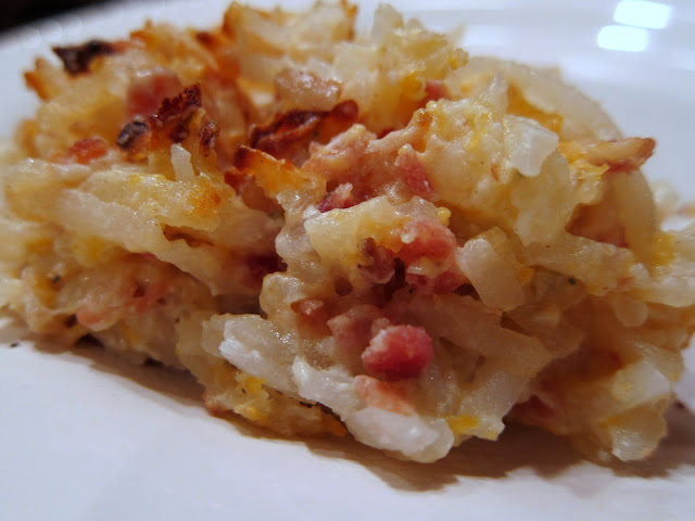 """Crack Potatoes"" - sour cream, cheddar cheese, real bacon bits, ranch dip mix, frozen shredded hash brown potatoes. #recipes YUM!"