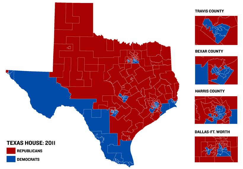 The Travis Monitor Painting The Texas Map Red - Texas political map