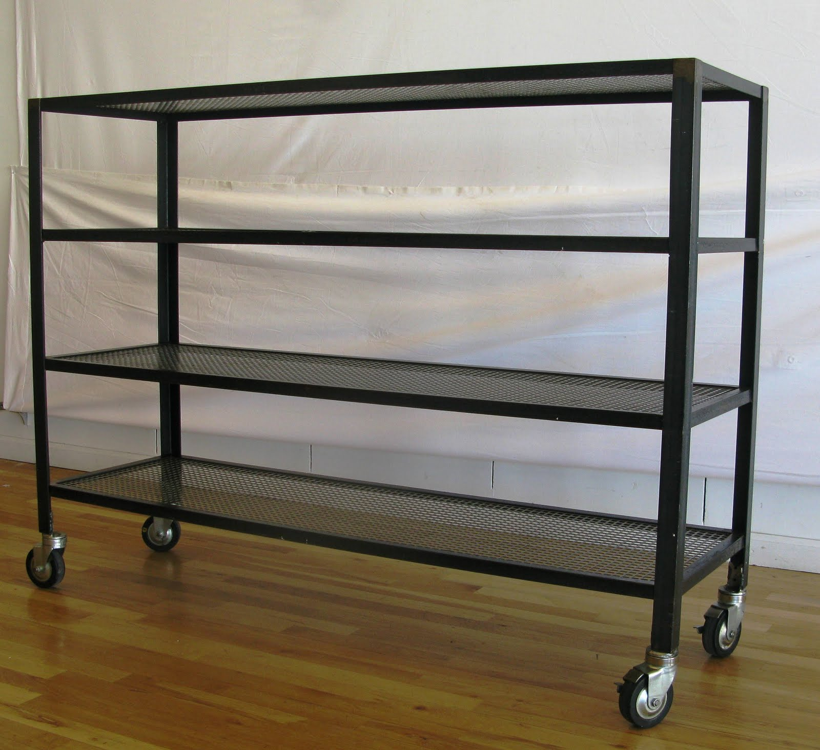 antiques vintage and more steel shelves on wheels. Black Bedroom Furniture Sets. Home Design Ideas