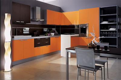Contemporary-orange-and-brown-kitchen-with-drawers-cabinets-and-light-floor-with-black-table-and-gray-chairs