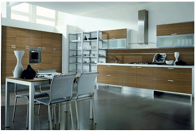 Elegant-sample-kitchen-with-wood-furniture-white-chairs-and-small-table