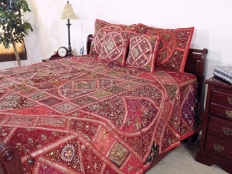 Modern furniture indian king duvet set sari bedding for Sari furniture designer