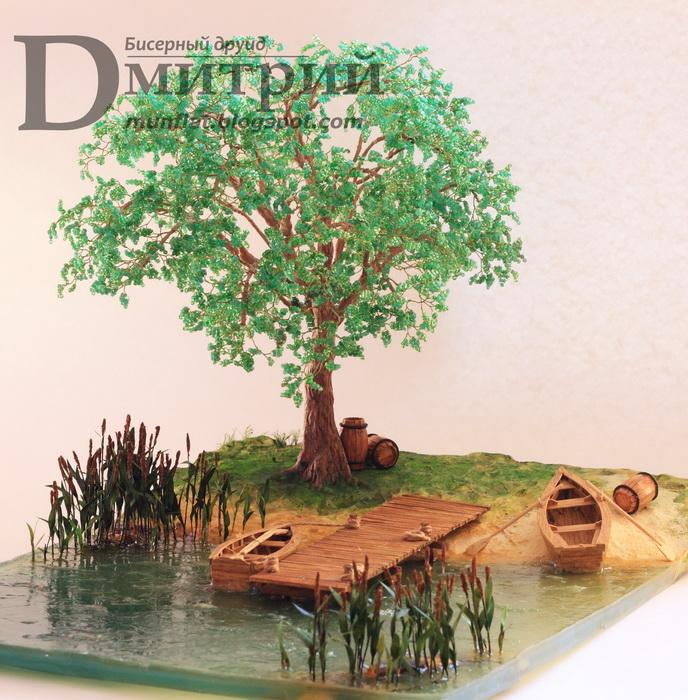 Композиции деревьев из бисера с водопадом фото 89