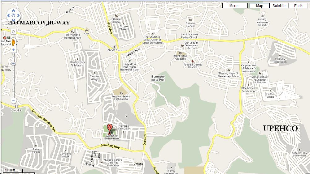 UPEHCO Antipolo Lots for Sale ANTIPOLO MAP LOCATION