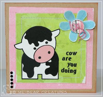 scrapbooking, silhouette, diecut, cow, koe, kinder knutselactiviteit, knutselen voor kinderen, kid's crafting, scrapkaart, scrapcard, template, mal, challenge, challenge blog, card challenge