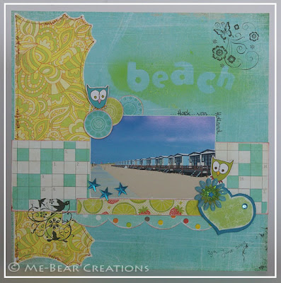 scrapbook, layout, beach, strand, hoek van holland, dtuc, dare to use color, lime, aqua, basic grey, sassafras lass, owl