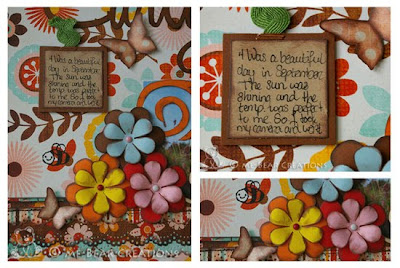 scrapbook, scrapping, scrappen, layout, bo bunny, kitchen spice, fall, autumn, nice, swirls, silhouette, robo, flowers, martha steward, doily lace, punch, kraft paper, bee, butterfly, butterflies