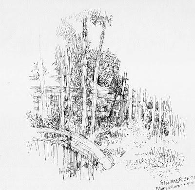 park, pavillon, föhren, garden, drawing, wolfgang glechner