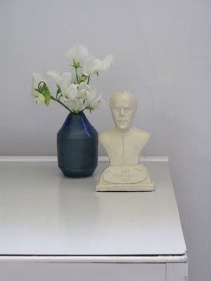 Sweet Peas and small bust of Toscanini