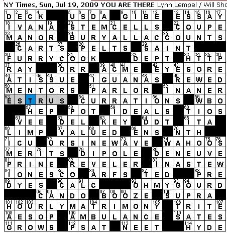 rex parker does the nyt crossword puzzle sunday jul 19 2009