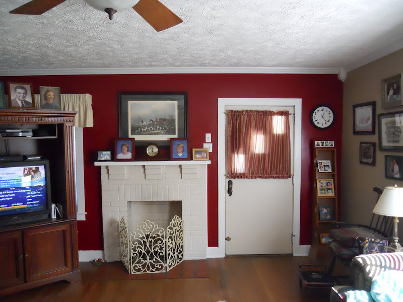 Burgundy Accent Wall Living Room