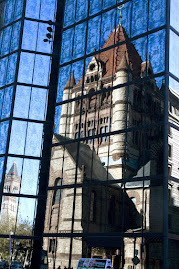 Boston&#39;s Trinity Church reflected in Skyscraper