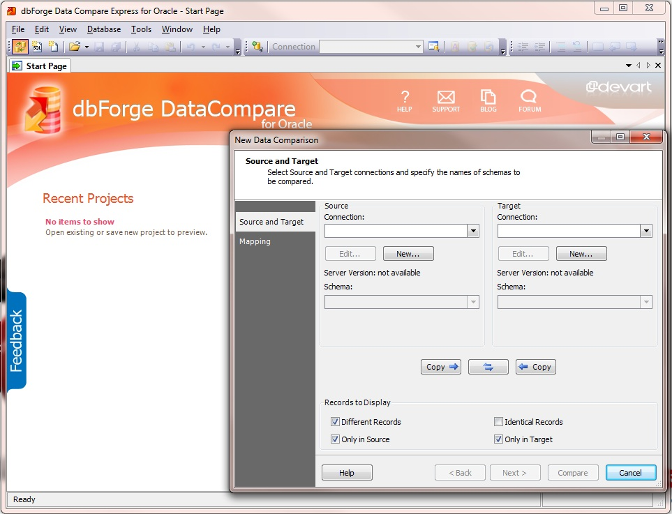 dbForge Data Compare Express for Oracle full screenshot