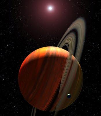 Ilustración artística de una enana roja y un planeta