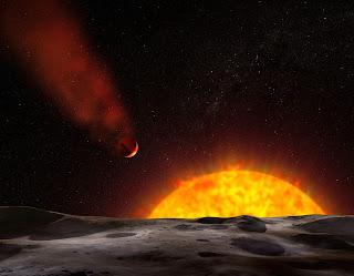 Impresión artística del planeta HD 209458b y su 'cola'