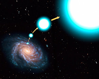 Impresión artística de la estrella hiperveloz alejándose de la galaxia