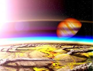 Impresión artística que muestra una luna muy volcánica orbitando un planeta gigante gaseoso en otro sistema estelar