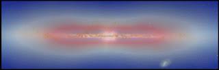Imagen compuesta que muestra un disco de materia oscura en color rojo