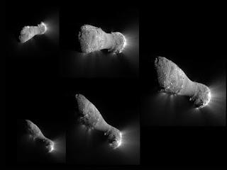 Composición de imágenes obtenidas por EPOXI a medida que se aproximaba y volaba cerca del cometa. Las imágenes progresan en el sentido de las agujas del reloj, comenzando desde la parte superior izquierda