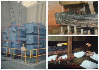 Fotografías de los daños permanentes al Transformador Elevador de Voltaje de la Planta Nuclear de Salem, Nueva Jersey, ocasionados por la tormenta geomagnética que ocurrió el 13 de marzo de 1989