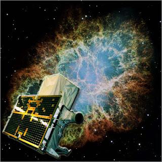 Imagen compuesta de la nebulosa del Cangrejo y el satélite AGILE