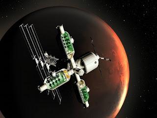 Ilustración artística de un biorreactor orbitando Marte