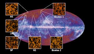 Imagen que muestra los seis primeros campos usados para detectar y estudiar el fondo cósmico infrarrojo