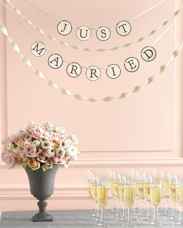 Make this Just Married Banner Brought to you by Martha Stewart
