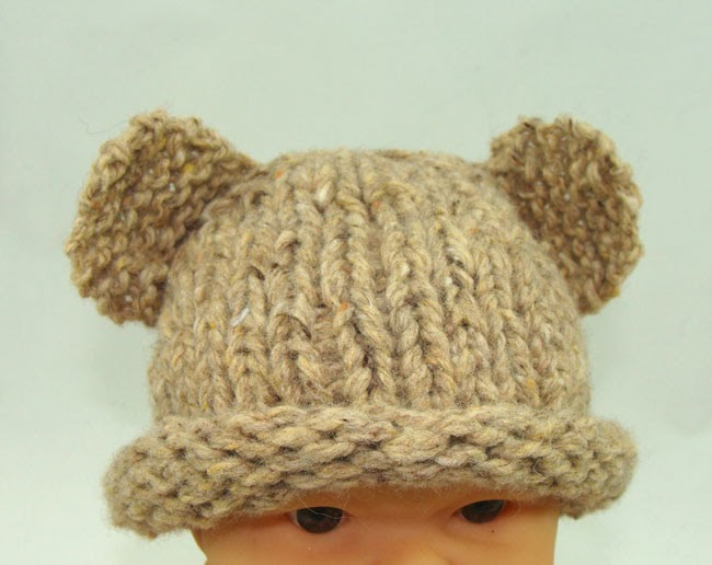 Bear Hat Knitting Pattern : Free Baby Projects: Preemie Knitted Bear Hat