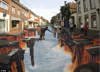 Rocky Road - 3D Sidewalk Art