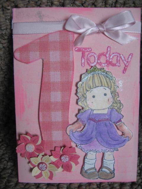 Cruellas Creations Baby Girls 1st Birthday Card