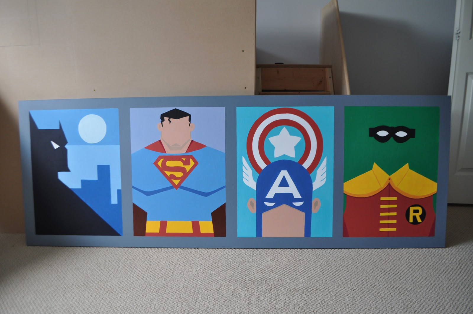 I am momma hear me roar the superhero bedroom part one for Superhero bedroom ideas