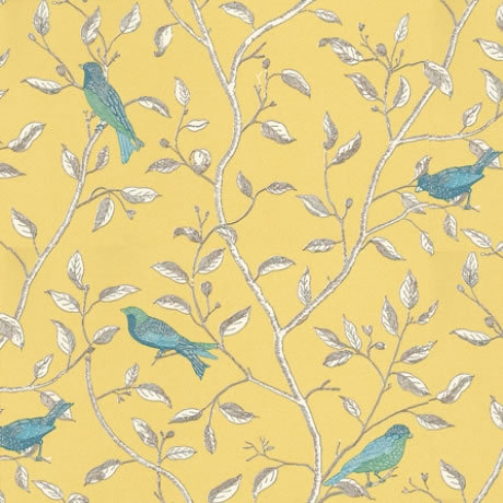 Sanderson Finches in Yellow. Images courtesy of Tangletree Interiors