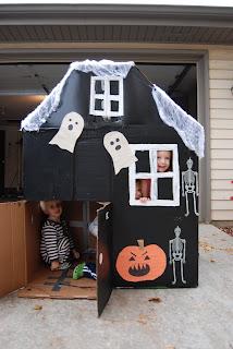 Home with lindsay halloween haunted cardboard house for Cardboard halloween decorations diy