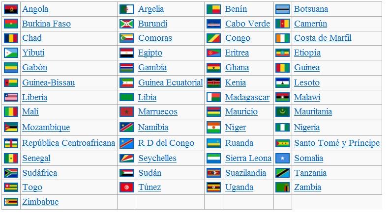 banderas de africa con nombres en español