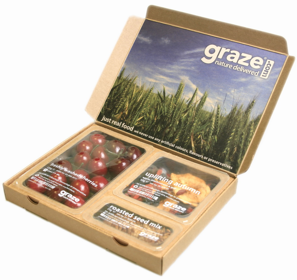 Graze is a mini-snack subscription box that sends a customized selection of treats weekly, bi-weekly, or monthly. Graze offers over different snacks that you can rate online, which, over time, helps tailor your subscription to your particular snacking preferences.