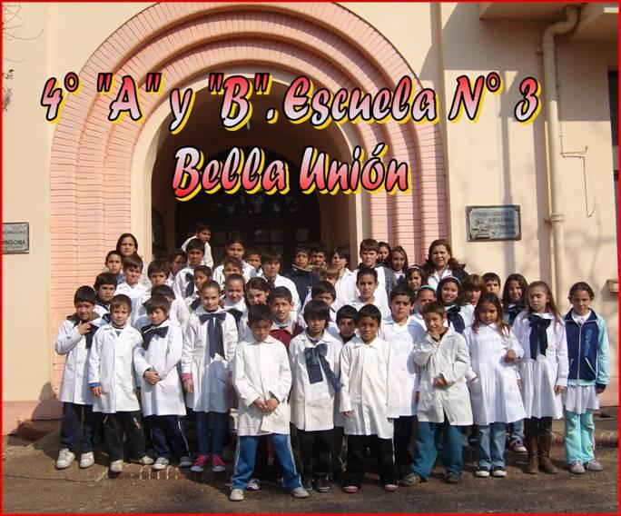 """Cuartos años """"A"""" y """"B"""" escuela N° 3. Bella Unión"""