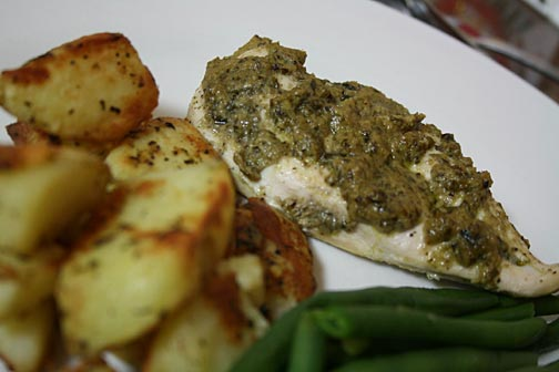 Pesto crusted chicken breast, pan roasted potatoes and green beans ...