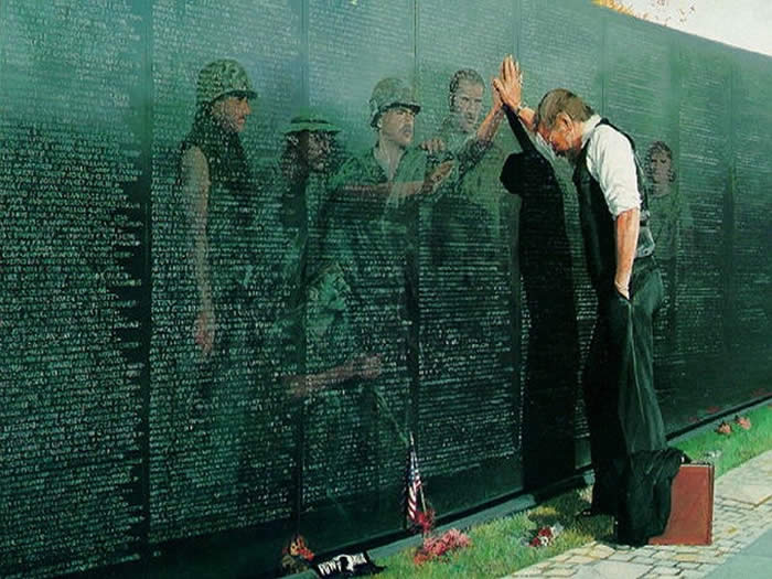 TOUCH TO WALL IN VIETNAM MEMORIAL