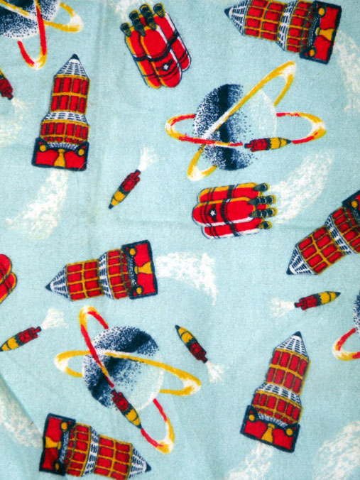Atomic living living the 1950 39 s future today acres of for Space flannel fabric