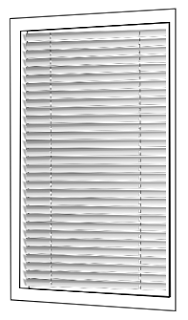 window frame with venetian blinds