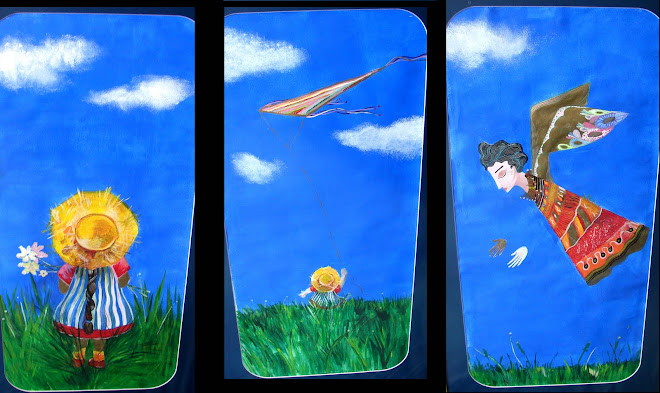 flight triptych - each piece 70 x 30 cm