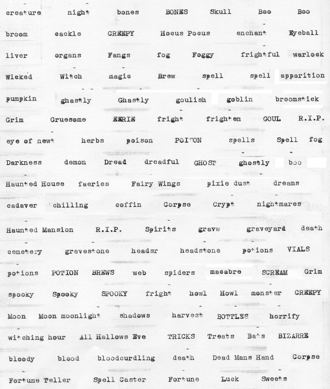 a list of halloween ish words on an old underwood typewriter i bought last month you can download the page and use it in your own crafting if you like