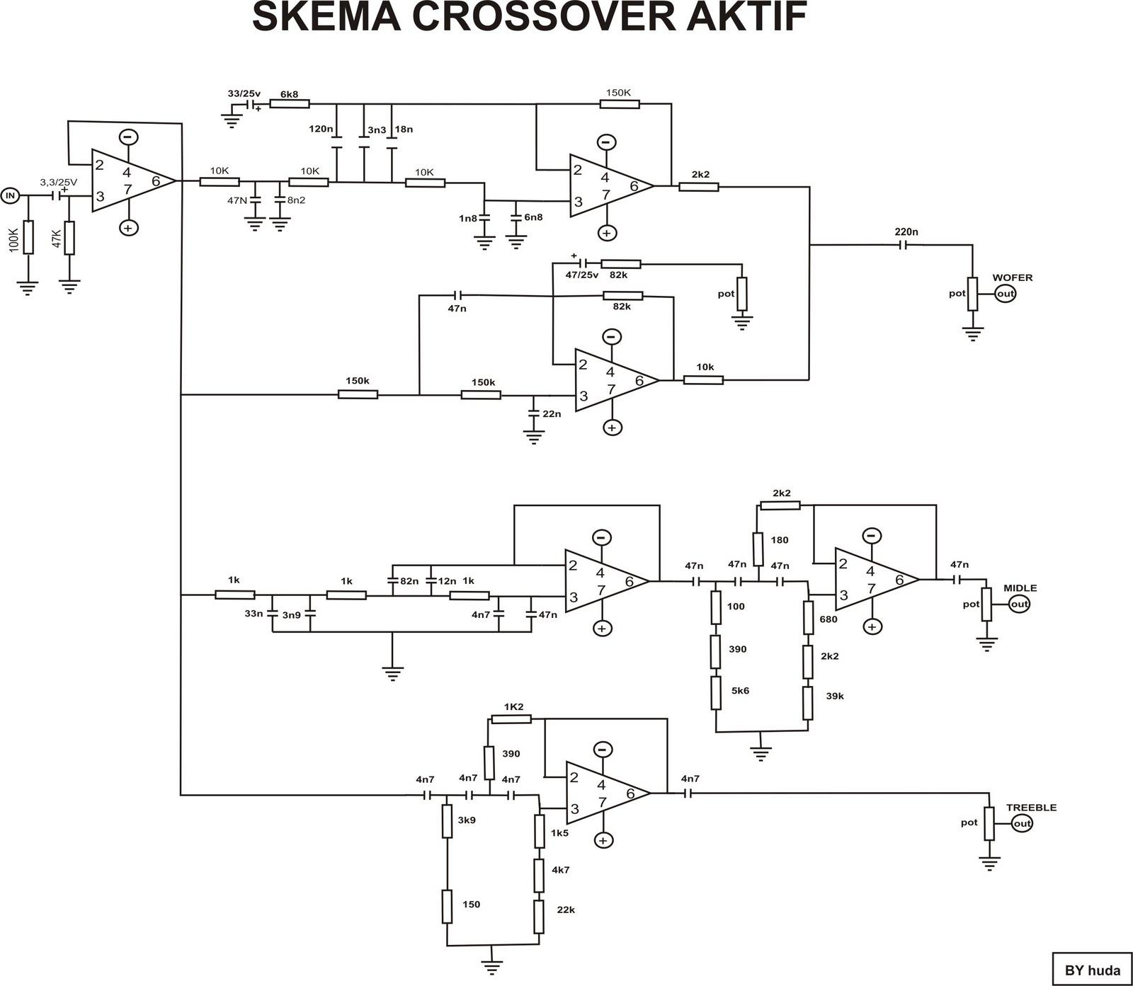 skema-skema elektronika: SKEMA SUBWOFER DAN CROSSOVER AKTIIF