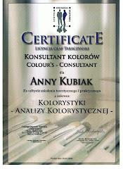 Oto jeden z certyfikatów, jaki otrzymała Ania